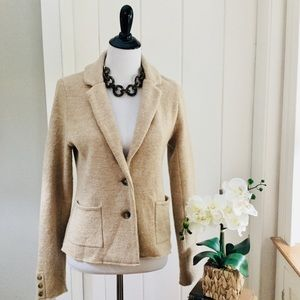 LOFT Light Tan 100% Merino Wool Knit Blazer Jacket